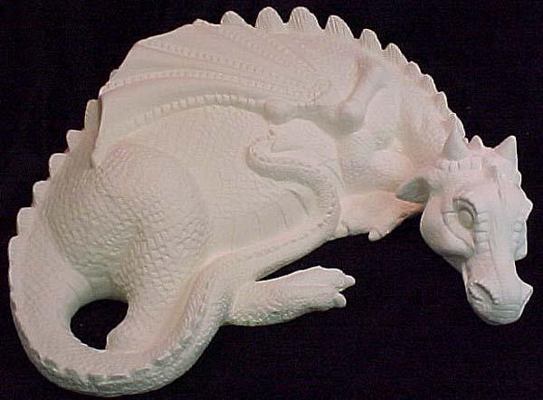 Resting Dragon Emeraldz Fine Ceramic Bisque